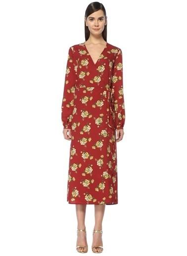Scenario Uzun Kollu V Yaka Çiçekli Elbise Kırmızı